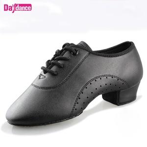 Image 1 - Erkek erkek dans ayakkabıları siyah düşük topuklu balo salonu dans ayakkabıları Tango Salsa Rumba Modern latin ayakkabı Boys çocuklar için
