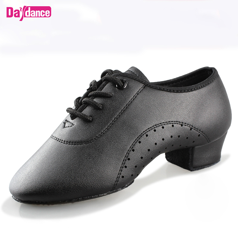 Men Boys Dance Shoes Black Low Heels Ballroom Dancing Shoes Tango Salsa Rumba Modern Latino Shoes