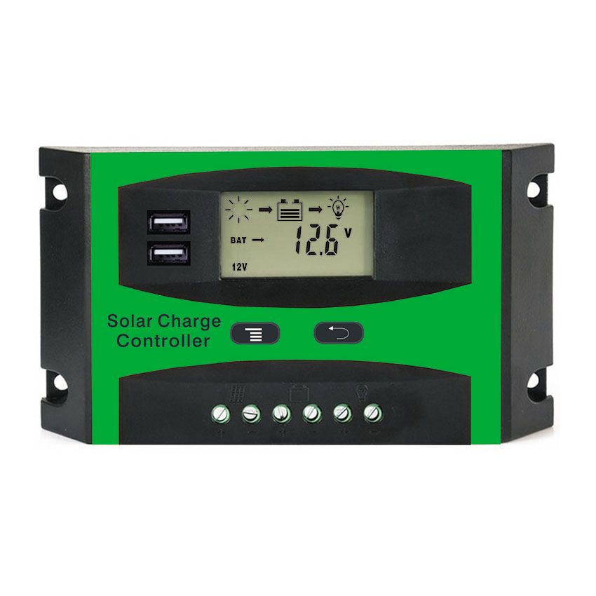 <font><b>30A</b></font> <font><b>12V</b></font> 24V LD2430U PWM Solar cell panel <font><b>battery</b></font> Charge Controller Regulators LCD Display