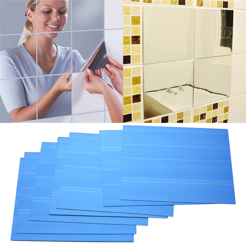 Hot Selling 9pcs/set DIY Square Mirror Tile Wall Stickers