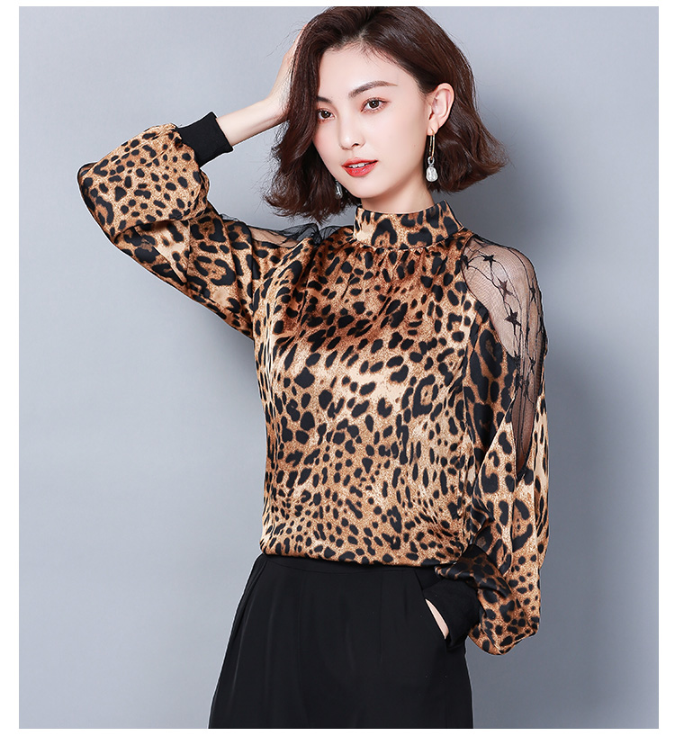 HTB1RMpHbsnrK1RkHFrdq6xCoFXaj - Fashion womens tops and blouses sexy lace off shoulder top Leopard print chiffon blouse shirt long sleeve women shirts 2656 50