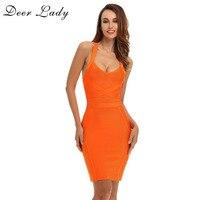 כתום DeerLady ריון תחבושת שמלה 2017 קיץ נשים מיני בנות בורגונדי גריי סקסי צלב חזור תחבושת Bodycon שמלות סיטונאית
