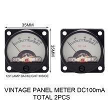 2 uds medidor de PANEL VINTAGE 35mm DC100mA amperímetro de bobina móvil para amplificador de tubo de vacío de AUDIO máquina de música HiFi DIY