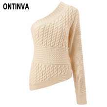Warm Women One Shoulder Knitted Sweater Twist Fashion Pullover Slim Casual Ladies Jumpers 2019 Autumn Winter Knitwear Pull Femme(China)