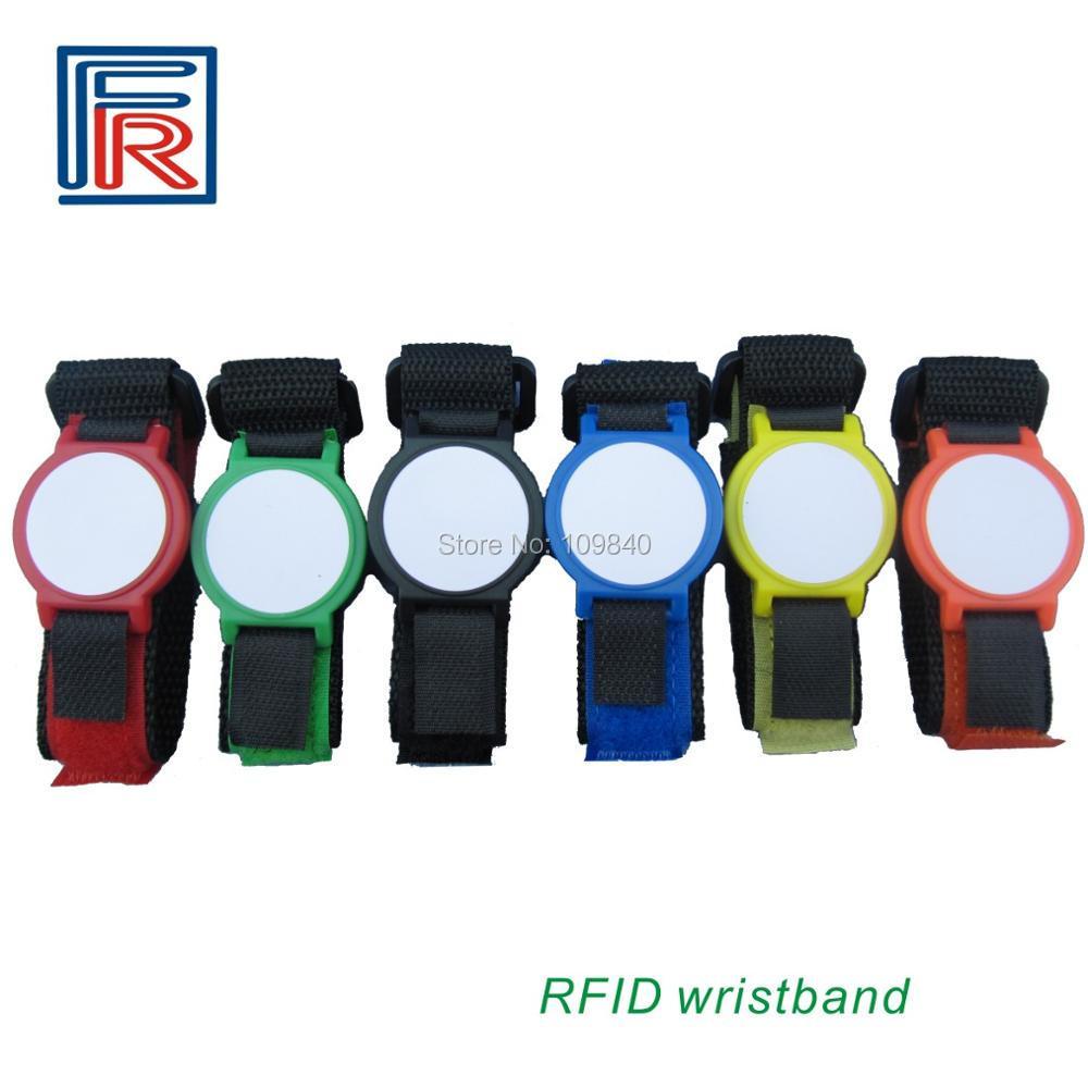 HF RFID Nylon wristband with 13.56mhz 1k byte fudan S50 chip for access control/e-ticket 600pcs/lot short byte int java
