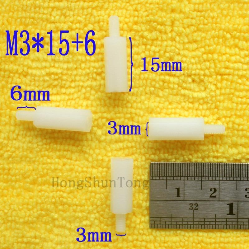 1Pcs M3 * 15 + 6 Branco Nylon Standoff Spacer M3 15mm Kit Impasse Macho-Fêmea Padrão reparação Conjunto de Alta Qualidade