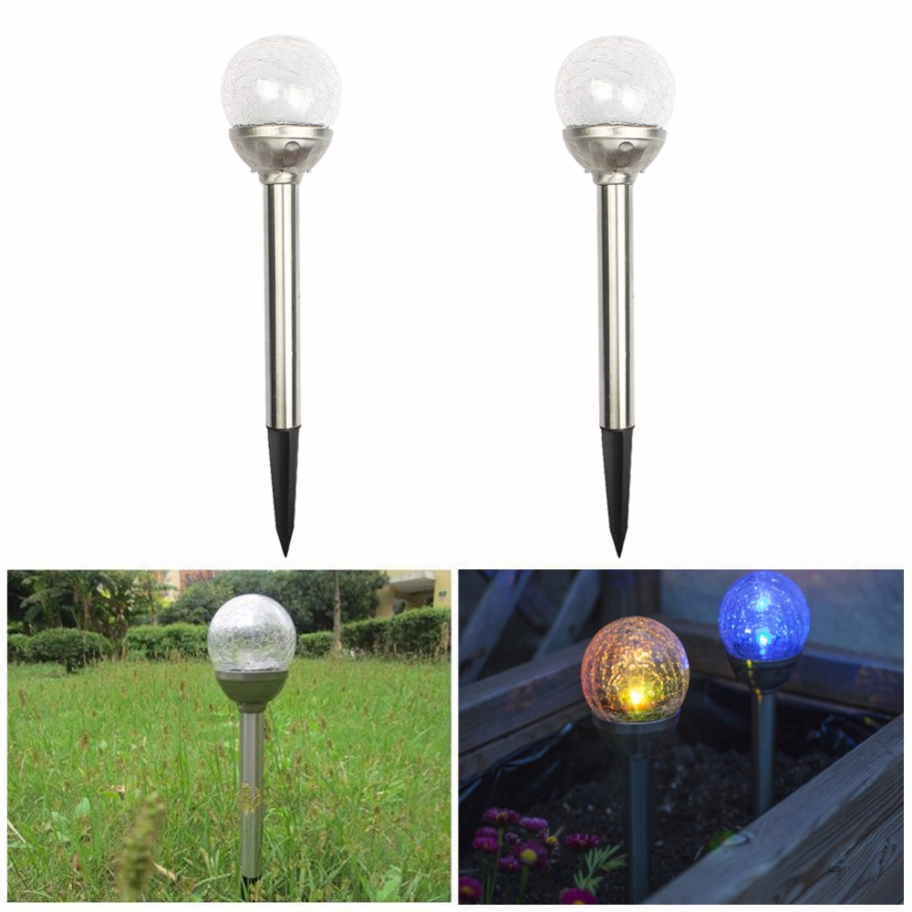 3 PCS Crackle Glass Solar Lights Stainless Steel Lawn