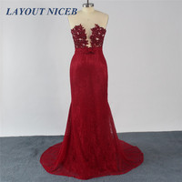 Robe Burgandy Lace See Through Sheer Crystal Mermaid Evening Dress 2016 Long De Soiree Prom Party