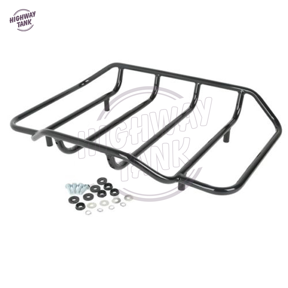 Black Motorcycle Tour Pak Trunk Top Rail Luggage Rack Case for Harley Davidson Touring FLH FLHX FLTR chrome motorcycle two up tour pak luggage rack rail case for harley touring flhr flht flhx fltr 2009 2017