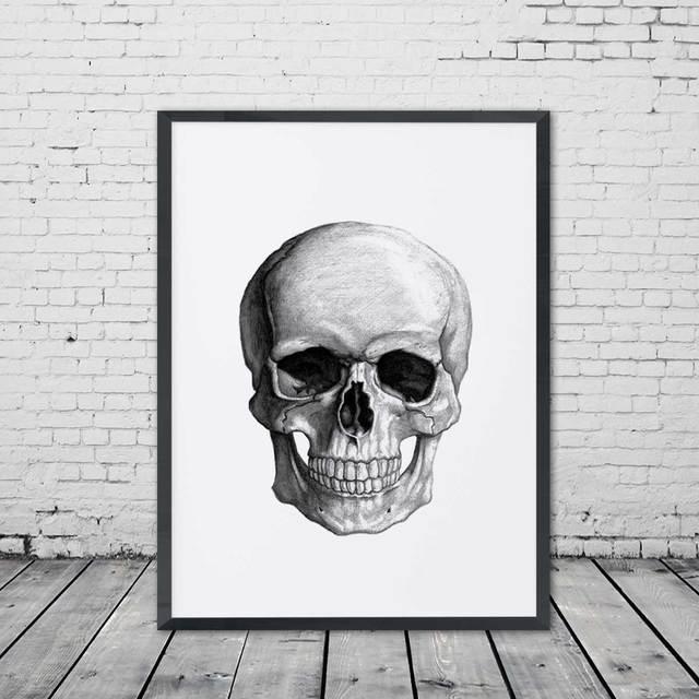 Skull Art Print Painting Wall Art Handmade Drawing Picture Kids