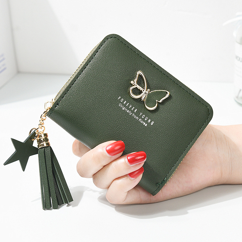 2018 New Tassels Zipper Women Wallet For Coin Card Cash Invoice Fashion Lady Small Purse Short Solid Females Clutch Carteras 20# new arrival women wallets fashion women bow card cash receipt holder wallet purse clutch handbag carteras mujer