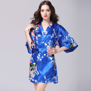 SSH012 Women Silk Robe Bathrobe Women Satin Robe Lounge Women Night Sexy Robe Bridesmaid Summer Night Gown Female Bath Robes