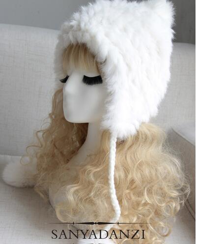 Новая зимняя мода реального кролика меховая шапка мода женщин меховой шапке элегантных женщин теплая шапка милые шлем типа для девочек