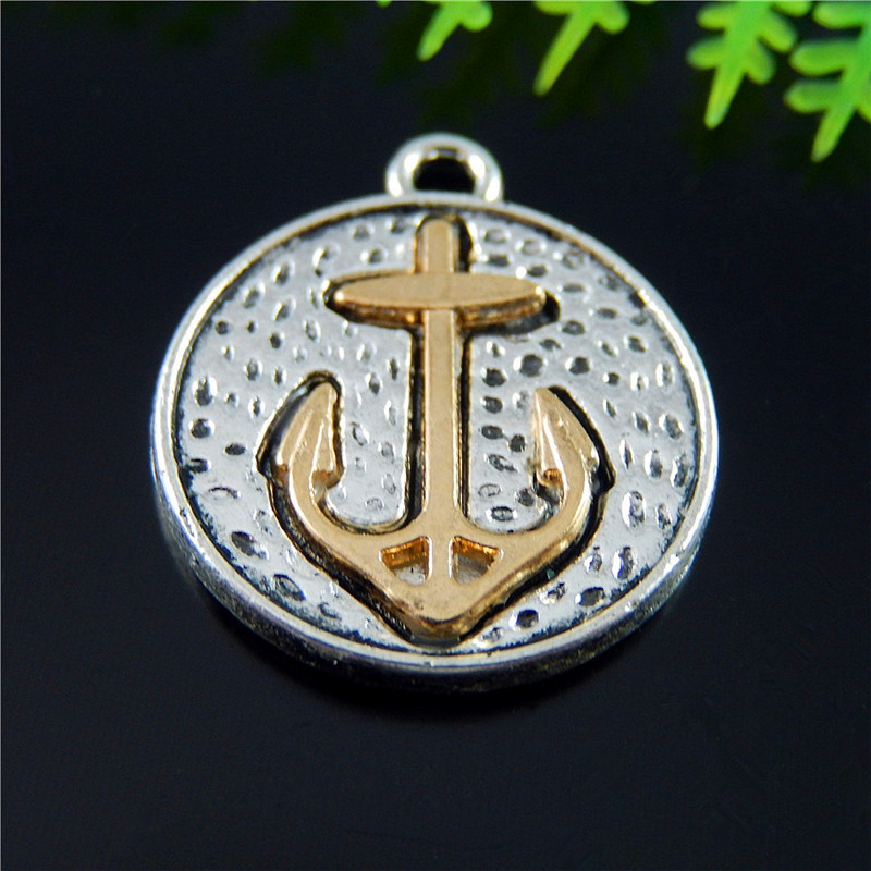 10pcs Men Women Antique Silver Boat Anchor Jewelry Pendants Charms Finding Jewelry Making Key Chain Accessary 23*20*3mm