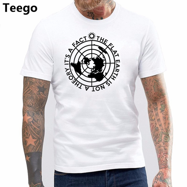 bbd401c3 100% cotton O-neck printed T-shirt Flat Earth T-shirt Conspiracy Theory  shirt