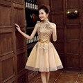 High collar short Gold lace homecoming cocktail robe de soiree longue vestido de festa longo A line gown formal Dress TK239