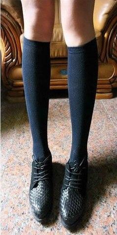 Fcare/10 шт. = 5 пар, Классические однотонные гетры белого и синего цвета, хлопковые носки до колена для школьной формы на Хэллоуин, 38,39 - Цвет: dark blue