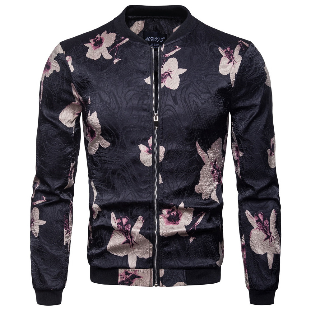 Men's Autumn Winter New Style Collar Collar Jacket Fashion Print Coat windbreaker  waterproof windproof winter jacket men #4N07
