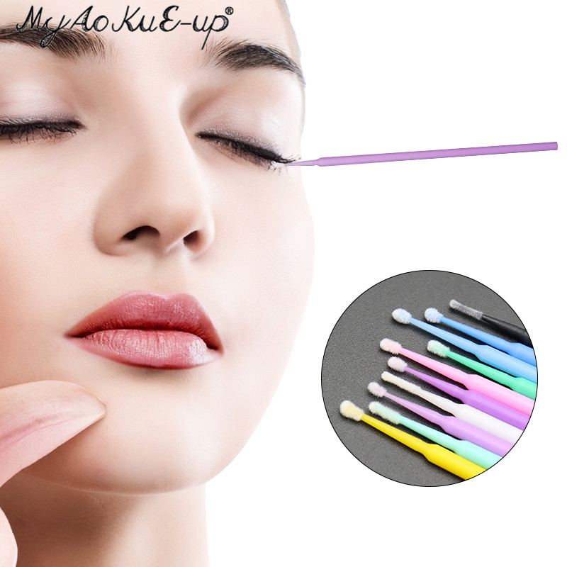 Disposable 100pcs Eyelash Brushes Mini Eyelashes Extension brushes Make Up Tool Applicator Wand Mascara Microbrush Makeup brush 5
