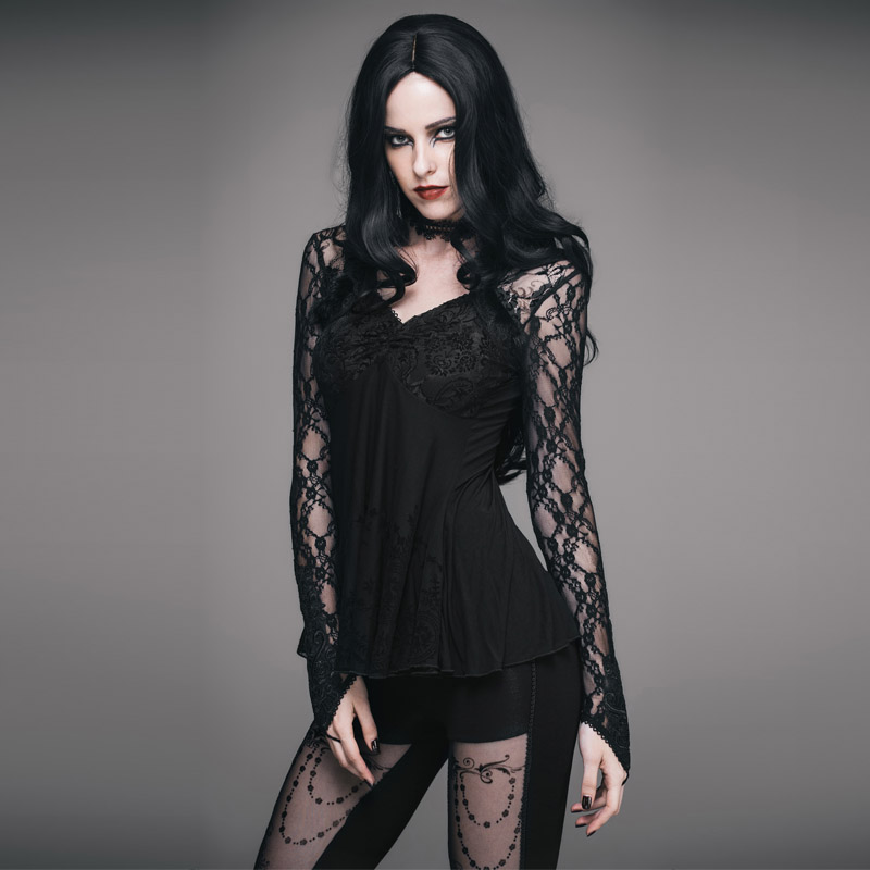 Женская открытая кружевная рубашка 2019 новая сексуальная глубокий v образный вырез с рукавом, кружевная вышивка, эластичная талия, 100% хлопок,... - 3
