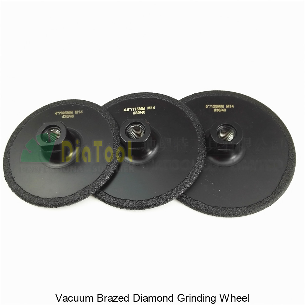 DIATOOL 3pcs (105+115+125MM)Vacuum Brazed Diamond Flat Grinding Wheel M14 Grit#30 Coated Cutting Grinder Disc For Marble Granite diatool 5 grit 30 vacuum brazed diamond flat grinding wheel disc m14 dia 125mm shaping wheel for engineer stone marble granite
