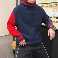 2017 Winter Men S Fashion Knitting Unlined Upper Garment Splice Hit Color Thicken Turtleneck Clothes Loose