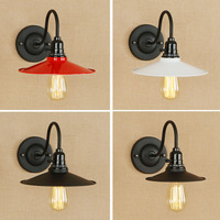 Nordic wrought iron vintage wall lamp red white black metal lampshade led wall lights bedroom Balcony aisle stair light fixture|vintage wall lamp|wall lamp|wall light bedroom -