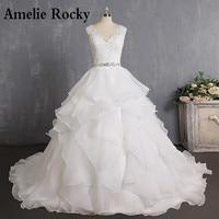 Vestidos De Novia 2020 Luxury Princess Wedding Dress Long Beading Wedding Gown Sexy Backless Bride Dress V Neck Robe De Mariage