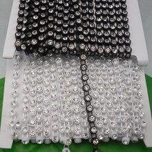 SS30 Класс прозрачное стекло 6 мм Стразы пластик окантовка Черный Белый костюм с аппликацией свадебное украшение 1 ярд