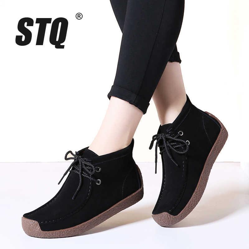 STQ 2019 Kış kadın yarım çizmeler kadınlar sıcak itme düz siyah lastik çizmeler kadın yürüyüş botları 7723