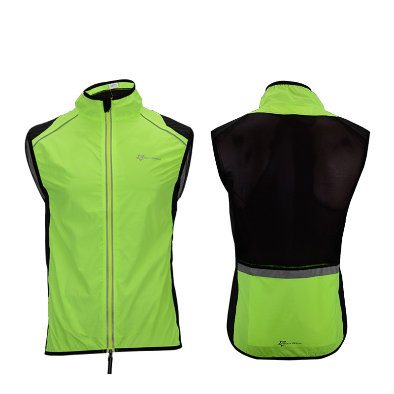Rockbros Cycling Bike Bicycle Reflective Outdoor Vest Running Safety Jersey Sleeveless Breathable Vest Night Walking Vest Coat Hiking Vests
