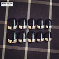 24pcs/set Short Metallic False Nails faux ongles Nail Color Tips nagel Artificial French Nails Tips Nail Polish With Glue Bride