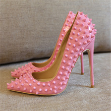 Free shipping fashion women Pumps lady Pink patent leather studded spikes Pointy toe high heels shoes size33-43 12cm 10cm 8cm цены онлайн