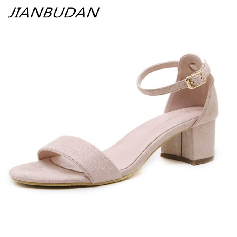 JIANBUDAN Elegant women 39 s summer Pumps 5cm heel Comfortable office sandals Open Toe Ankle buckle fashion sandals Black apricot in Middle Heels from Shoes