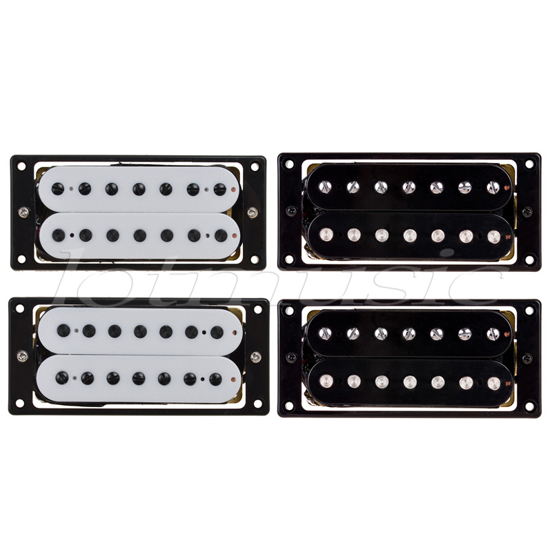 7 String Electric Guitar Pickups Set Bridge and Neck Double Coil Humbucker Black White 2 Pairs kmise electric guitar pickups humbucker double coil pickup bridge neck set guitar parts accessories black with chrome gold frame