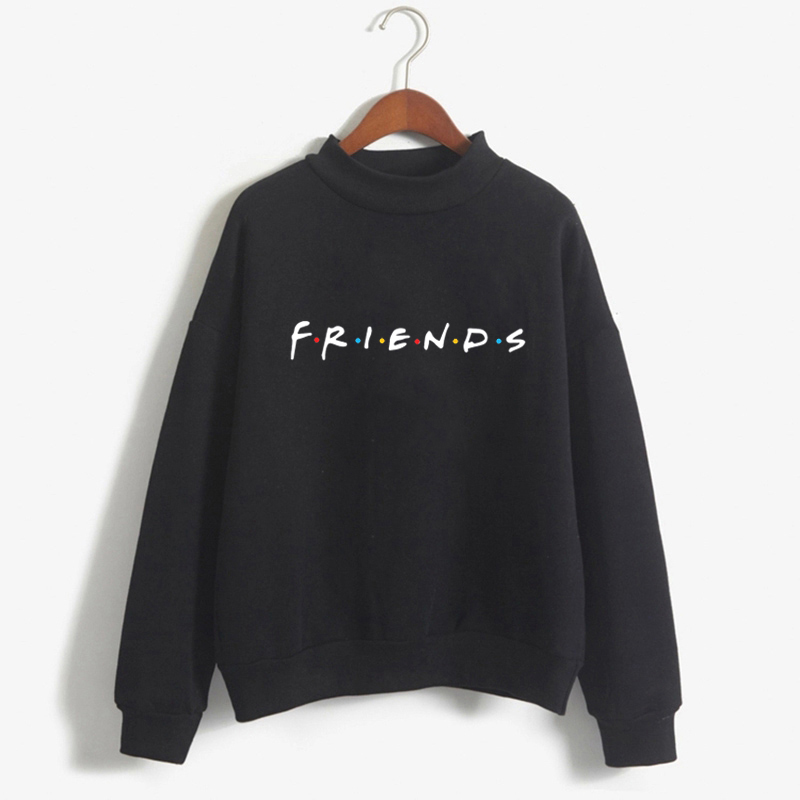 Black Friends TV Women Turtleneck Hoodies Sweatshirt Winter Kawaii Clothes 2018 Harajuku Plus Size Tee Top Femme Clothing Sweat
