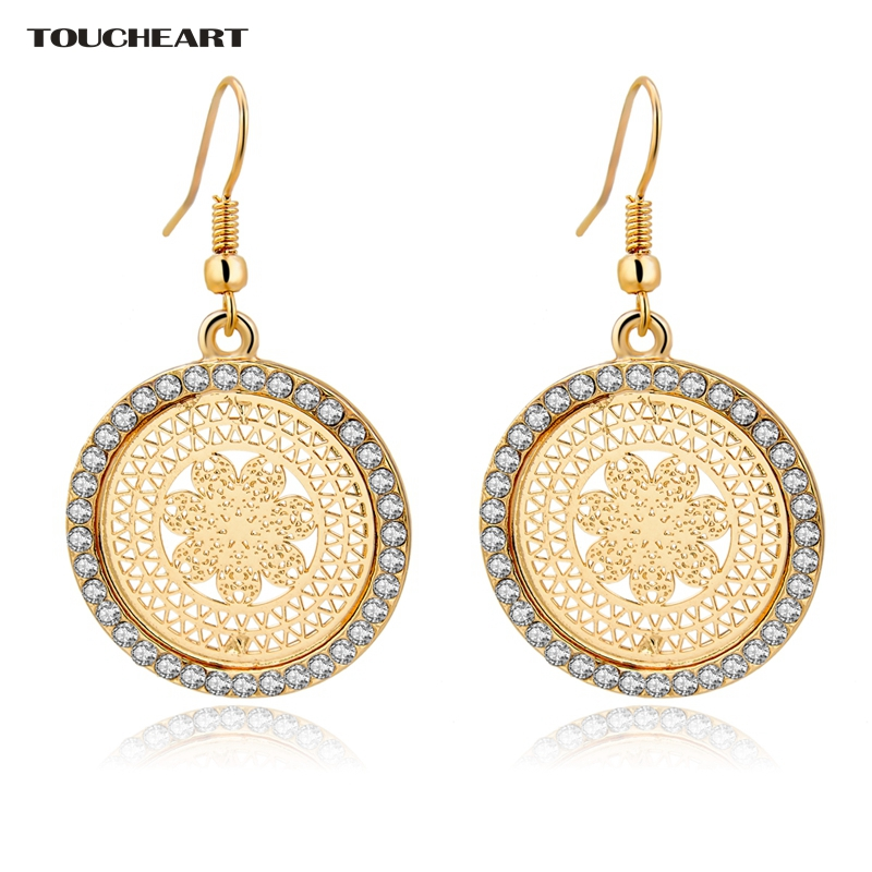 Toucheart Crystal Brand Wedding Earrings With Stones For Women Gold Color Round Antique Fashion Jewelry In Drop From