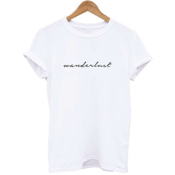 4c08ea75 Wanderlust Shirt Cursive T-Shirt Travel Aesthetic Tumblr t shirt Women  Funny Graphic tshirt tops