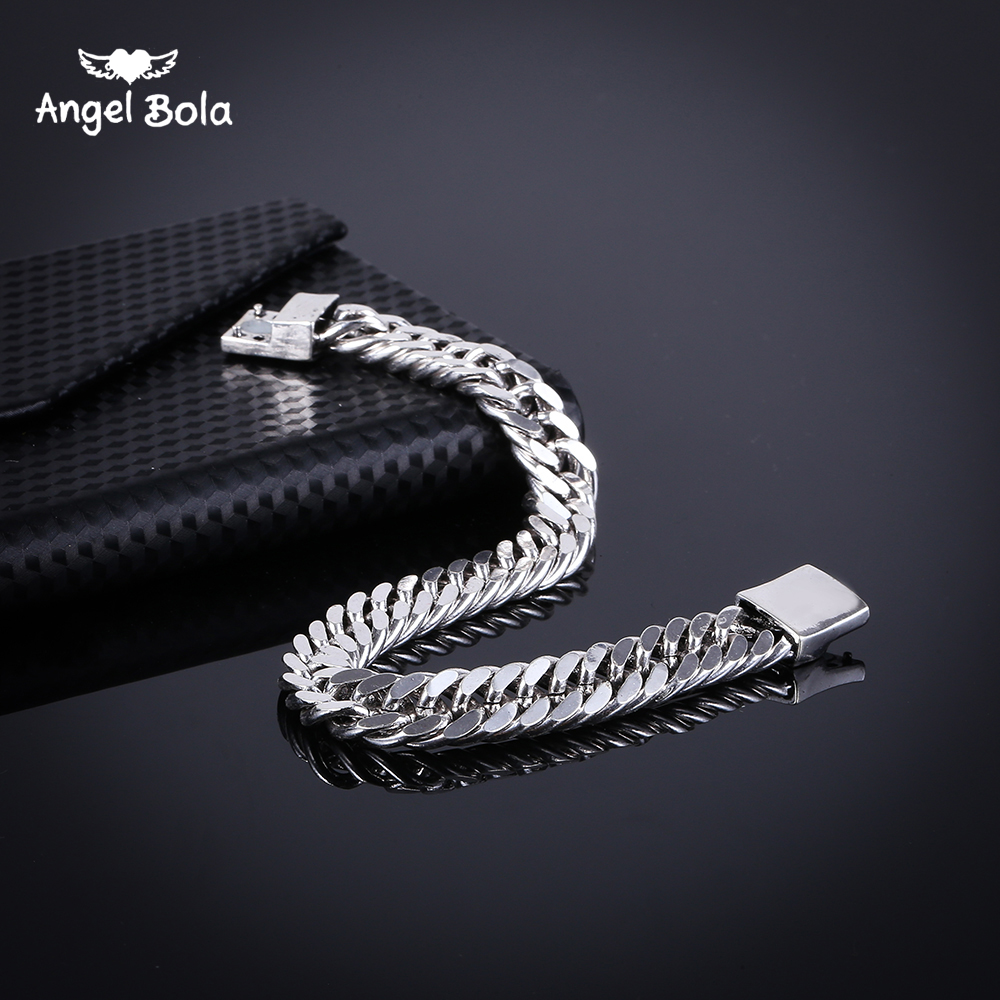 2018 Bicycle Chain Wristband Fashion New Link Chain Ancient Silver Bracelet Women Heavy 9MM Wide Mens Buddha Bangles B1019-5