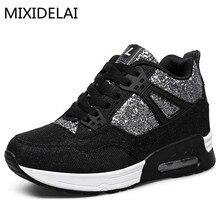 MIXIDELAI/Новинка; сезон весна-осень; ботильоны; обувь на каблуке; женская повседневная обувь; обувь с высоким берцем, увеличивающая рост; разноцветные зимние ботинки