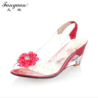 Fanyuan Size 30 43 Summer Sandals Women Wedge Crystal Flowers Sweet Jelly Shoes Woman 2017 Cutouts