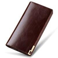 WilliamPOLO Wallets Luxury Men Wallets Brand Long Men Purse Male Clutch Leather Zipper Wallet Men Business Male Wallet