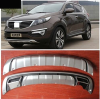 2012 High quality ABS chrome Front+Rear bumper cover trim Fender protection board for 11 13 14 kia Sportager Car styling