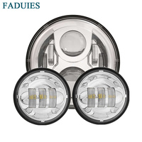 FADUIES Chrome/Black set 7 Round Harley led Headlight with 4.5 inch led Fog Light Passing Lamps For Harley Motorcycle Touring