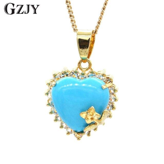 Gzjy beautiful jewelry heart blue stone pendant aaa zircon gold gzjy beautiful jewelry heart blue stone pendant aaa zircon gold color necklace pendant for women gift aloadofball Image collections