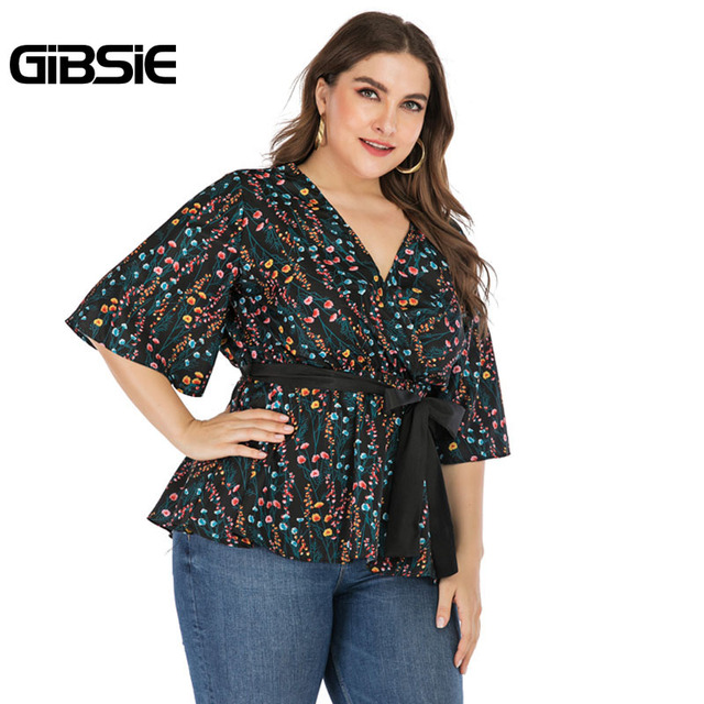 GIBSIE Plus Size Elegant Floral Print V-neck Wrap Blouse Women 2019 Summer Casual Belted Hafl Sleeve Ladies Tops and Blouses 4