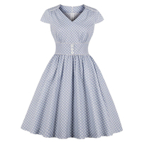 Summer Polka Dot Vintage Women Dresses 2019 Elegant Office Ladies Sexy Blue A Line Plus Size Female V Neck Cotton Retro Dress