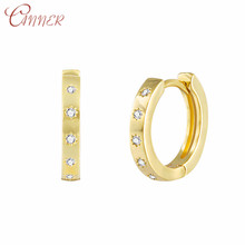 CANNER Round Hoop Earrings for Women Statement CZ Crystal Small Huggie Minimalist Circel Earings Fashion Jewelry Gifts