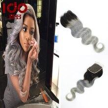 7A Dark Roots Blonde Hair Closure 1b/613 Honey Blonde Hair Lace Closure Body Wave 4″x4″ Free Part  Brazilian Grey Ombre Closure