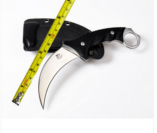 ФОТО Crazy karambit Mirror light AUS-8 Blade G10 Handle ctical Knife With ABS Sheath Hunting knives Outdoor camping Tools  knife